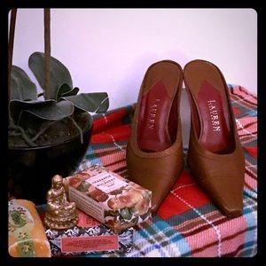 Ralph Lauren leather kitten heel Reddish brown